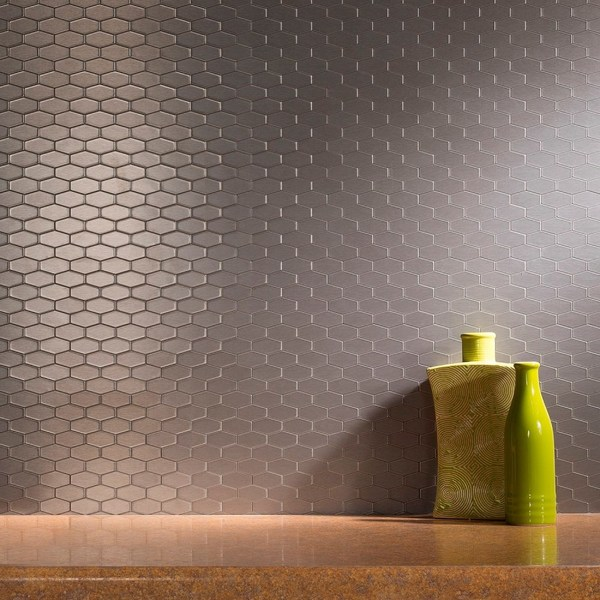 aspect 6x4 inch wide hex stainless matted metal tile 6