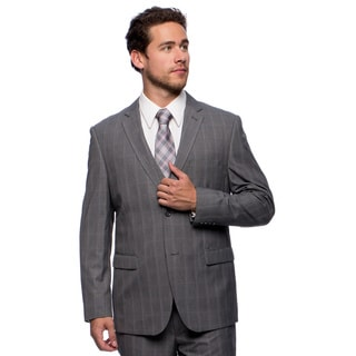 Caravelli Men's Slim Fit Grey Plaid Vested Suit