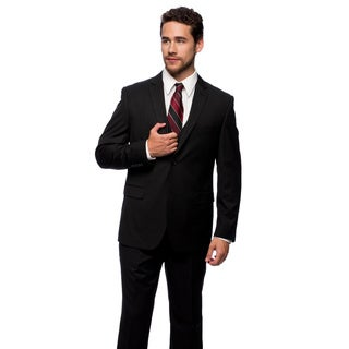 Caravelli Men's Slim Fit Black Stripe 2-button Vested Suit