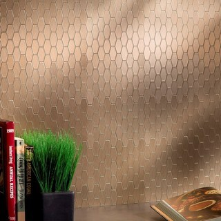 Aspect 6x4-inch Wide Hex Champagne Matted Metal Tile (6-pack) (2 options available)