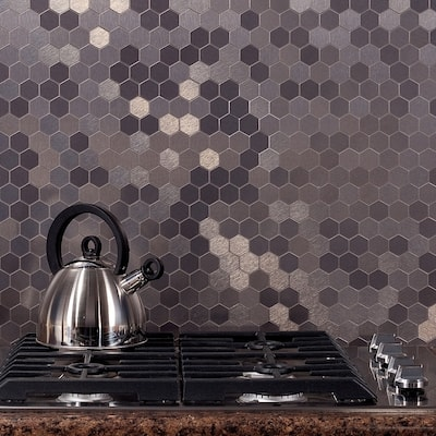 Aspect 11x4-inch Honeycomb Stainless Matted Metal Tile (3-pack)