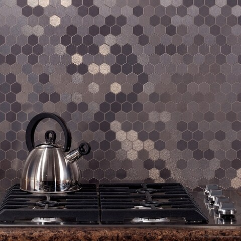 Aspect 12x4-inch Honeycomb Stainless Matted Metal Tile (3-pack)