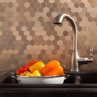 Aspect 12x4-inch Honeycomb Champagne Matted Metal Tile (3-pack)
