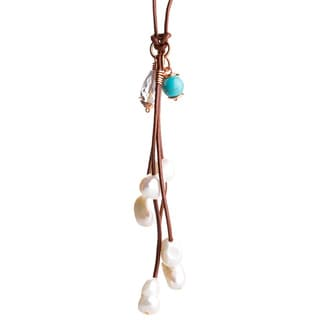 Bleek2Sheek Rose Gold Wire Wrapped Leather and Pearl Cascade Necklace