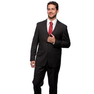 Caravelli Men's Slim Fit Grey Stripe 2-button Vested Suit