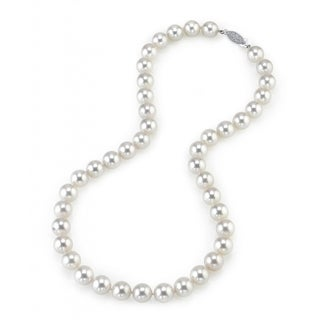 Radiance Pearl 14k Gold AAA Quality White Akoya Pearl Necklace (9-9.5mm)
