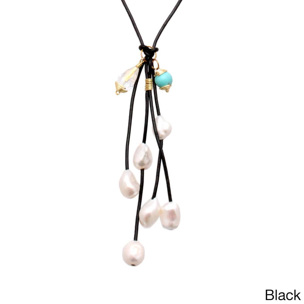 Bleek2Sheek Gold Colored Brass Wire wrapped Leather and P...