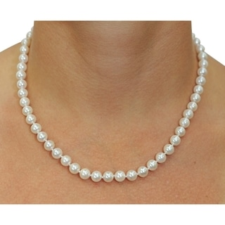 Radiance Pearl 14k Gold AAA Quality White Akoya Pearl Necklace (6.5-7mm)