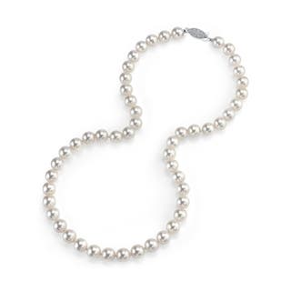 Radiance Pearl 14k Gold AAA Quality White Akoya Pearl Necklace (7-7.5mm)|https://ak1.ostkcdn.com/images/products/10517295/P17601407.jpg?impolicy=medium