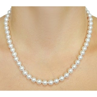 Radiance Pearl 14k Gold AAA Quality White Akoya Pearl Necklace (7-7.5mm)