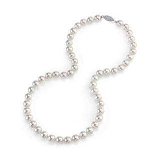 Radiance Pearl 14k Gold AAA Quality White Akoya Pearl Necklace (7.5-8mm)