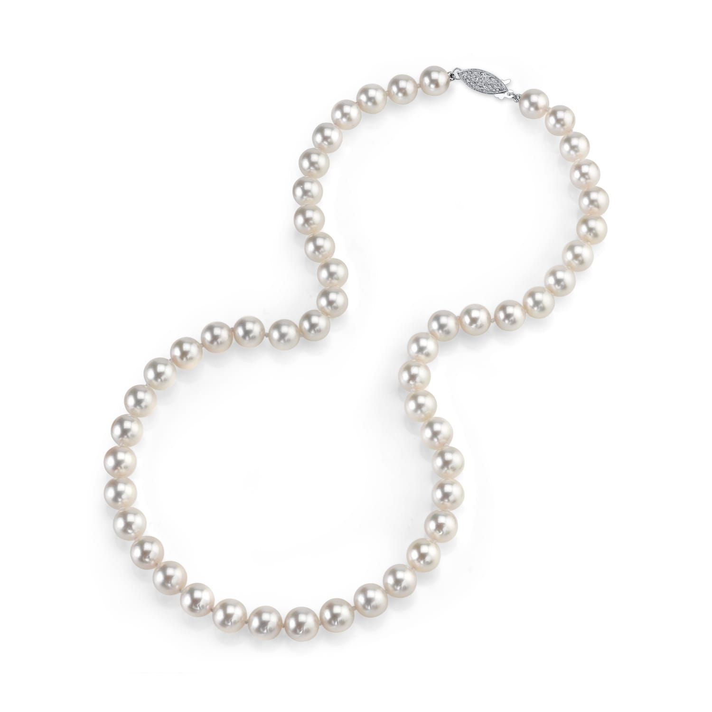 7.5-8mm AAA Akoya White Pearl 14K White Gold Pendant