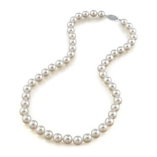 Radiance Pearl 14k Gold AAA Quality White Akoya Pearl Necklace (8.5-9mm)