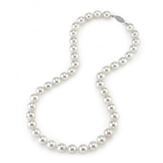 Radiance Pearl 14k Gold AAA Quality White Akoya Pearl Necklace (9.5-10mm)