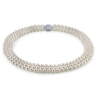 Radiance Pearl 14k Gold AAA Quality White Akoya Pearl Triple Strand Necklace (6.5-7mm) (3 options available)