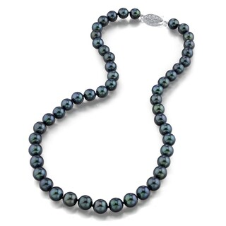 Radiance Pearl 14k Gold AAA Quality Black Akoya Pearl Necklace (8.5-9mm)