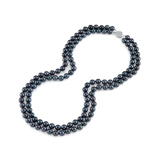 Radiance Pearl 14k Gold AAA Quality Black Akoya Pearl Double Strand Necklace (7-7.5mm) (4 options available)