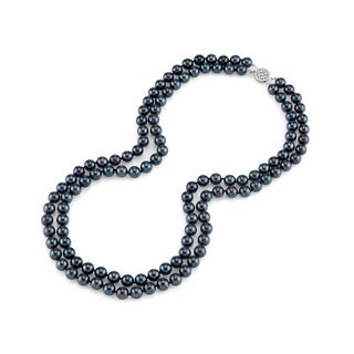 Radiance Pearl 14k Gold AAA Quality Black Akoya Pearl Double Strand Necklace (7.5-8mm) (4 options available)