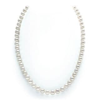 Radiance Pearl 14k Gold AAA Quality White Freshwater Pearl Necklace (7-8mm)