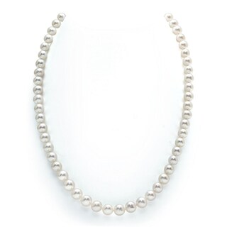 Radiance Pearl 14k Gold AAA Quality White Freshwater Pearl Necklace (7-8mm) (More options available)