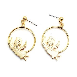 Gold-plated Hoop earrings/angel