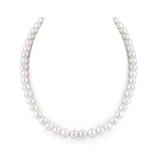 Radiance Pearl 14k Gold AAA Quality White Freshwater Pearl Necklace (8-9mm)