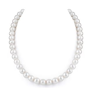 Radiance Pearl 14k Gold AAA Quality White Freshwater Pearl Necklace (9-10mm)