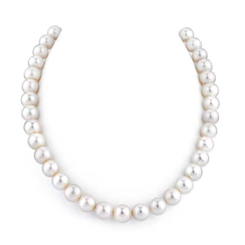 Radiance Pearl 14k Gold AAA Quality White Freshwater Pearl Necklace (10-11mm)