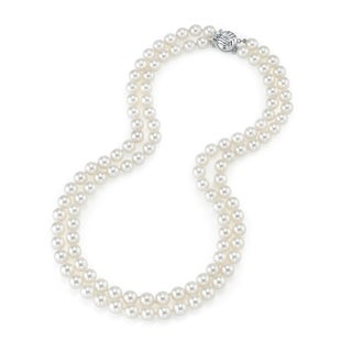 Radiance Pearl 14k Gold AAA Quality White Freshwater Pearl Double Strand Necklace (7-8mm)