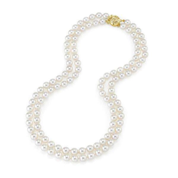 14K Yellow Gold Double Stranded Fish Wire Black Pearled Necklace