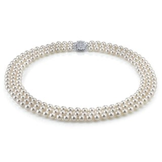 Radiance Pearl 14k Gold AAA Quality White Freshwater Pearl Triple Strand Necklace (7-8mm)