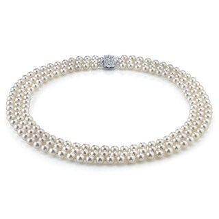Radiance Pearl 14k Gold AAA Quality White Freshwater Pearl Triple Strand Necklace (7-8mm) (Option: 19 Inch)