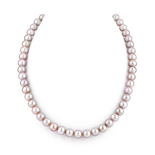 Radiance Pearl 14k Gold AAA Pink Freshwater Pearl Necklace (7-8mm)