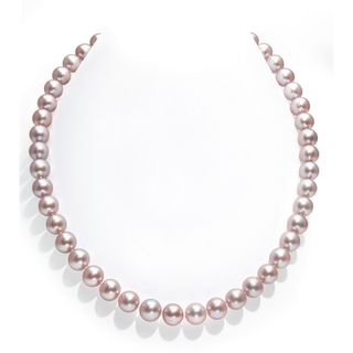 Radiance Pearl 14k Gold AAA Pink Freshwater Pearl Necklace (9-10mm)