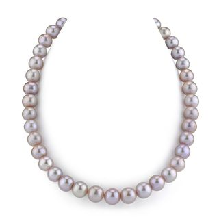 Radiance Pearl 14k Gold AAA Pink Freshwater Pearl Necklace (10-11mm)
