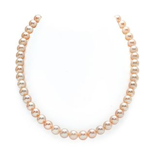 Radiance Pearl 14k Gold AAA Quality Pink Freshwater Pearl Necklace (7-8mm)