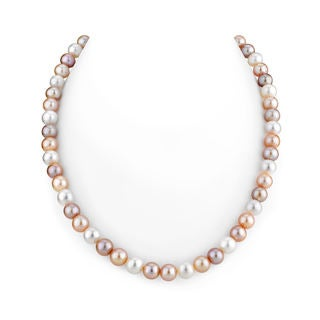 Radiance Pearl 14k Gold AAA Quality Multicolor Freshwater Pearl Necklace (8-9mm)