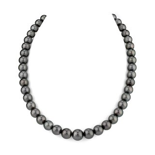 Radiance Pearl 14k Gold AAA Quality Black Tahitian South Sea Pearl Necklace (9-11mm)