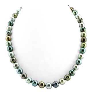 Radiance Pearl 14k Gold AAA Quality Multicolor Tahitian South Sea Pearl Necklace (8-10mm)
