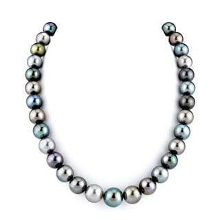 Radiance Pearl 14k Gold AAA Quality Multicolor Tahitian South Sea Pearl Necklace (10-12mm)