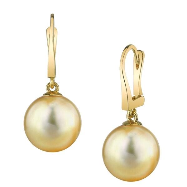 Radiance Pearl 14k Gold Golden South Sea Earrings 9 10 Mm