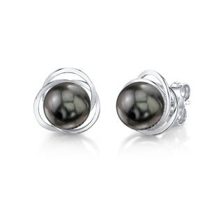 Radiance Pearl 14k Gold Tahitian South Sea Pearl Earrings (8-9 mm)
