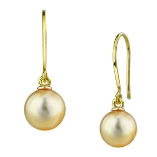 Radiance Pearl 14k Gold Golden South Sea Pearl Earrings (9-10 mm, 10-11 mm)