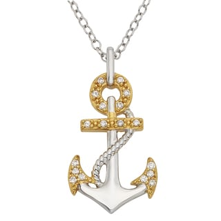 H Star Yellow Goldplated Sterling Silver 1/10ct TDW Diamond Anchor Pendant (I-J, I2-I3)