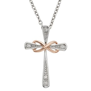 H Star Rose-plated Sterling Silver Diamond Accent Cross Necklace