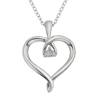 H Star Sterling Silver Diamond Accent Heart Pendant