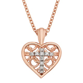 H Star Sterling Silver and Rose-plated Diamond Accent Heart Cross Pendant