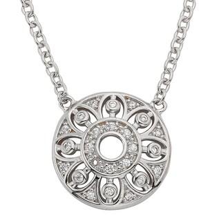 H Star Sterling Silver 1/8ct TDW Diamond Circle Pendant