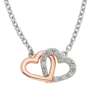 H Star Sterling Silver and Rose-plated 1/8ct TDW Diamond Double Heart Pendant (I-J, I2-I3)