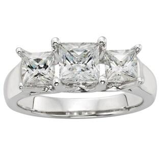 H Star Sterling Silver 2ct Diamagem Princess 3-stone Ring